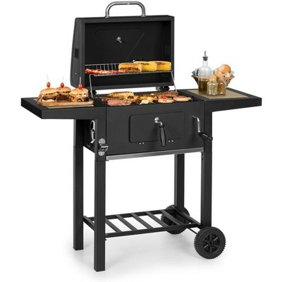 Klarstein - Meat Machine Charcoal Grill 45x32.5cm Thermometer Floor Rollers Black