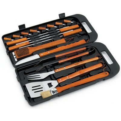 BBQ Bamboo Tool Set In Case - 18 Piece - Landmann
