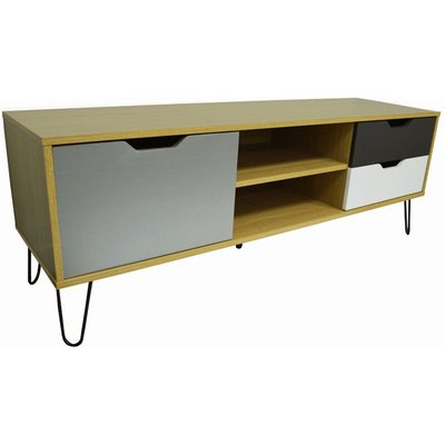 Watsons - Large TV / Entertainment Unit With Three Storage Drawers - Beech / Muticoloured
