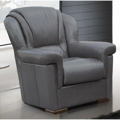 Lazio Armchair Sofa Genuine Italian Leather Dark Grey - DESIGNER SOFAS 4 U