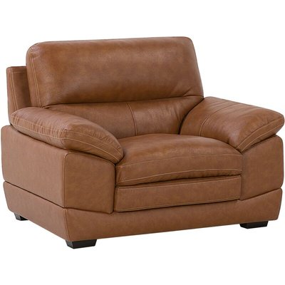 Beliani - Genuine Leather Upholstered Living Room Armchair Golden Brown Horten