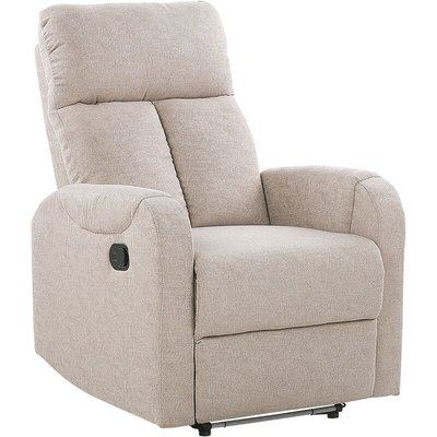 Beliani - Upholstered Fabric Recliner Chair White LED Lights USB Port Armchair Beige Somero