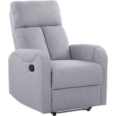 Beliani - Upholstered Fabric Recliner Chair White LED Lights USB Port Armchair Grey Somero