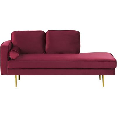 Beliani - Modern Glam Velvet Chaise Lounge Dark Red Upholstery Gold Metal Legs Miramas