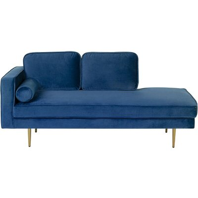 Left Hand Velvet Chaise Lounge Navy Blue MIRAMAS - BELIANI