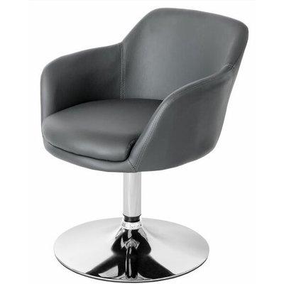Leisure Tub Bucket Chair Grey Padded Seat Swivel Chrome Frame