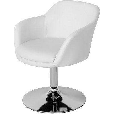 Leisure Tub Bucket Chair White Padded Seat Swivel Chrome Frame