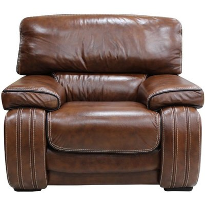 Livorno Armchair Genuine Italian Tabak Brown Leather Offer - DESIGNER SOFAS 4 U