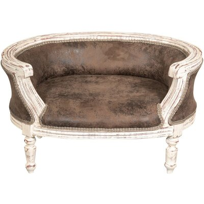 Louis XIV French style solid beech wood made pouf with backrest - BISCOTTINI