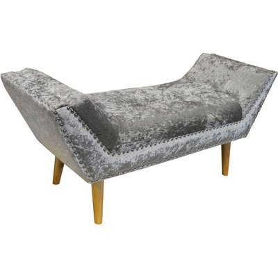 LOUNGE - Crushed Velvet Chaise Bench with Wood Legs - Silver