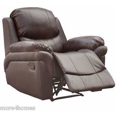 MADISON LEATHER RECLINER ARMCHAIR SOFA HOME LOUNGE CHAIR RECLINING GAMING[Brown] - MORE4HOMES