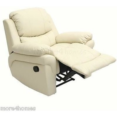 More4homes - MADISON LEATHER RECLINER ARMCHAIR SOFA HOME LOUNGE CHAIR RECLINING GAMING[Cream]
