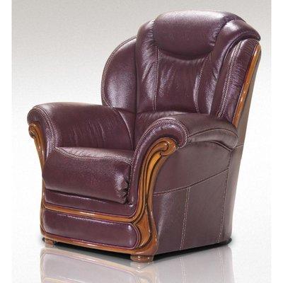 Maia Armchair Sofa Genuine Italian Burgandy Leather Offer - DESIGNER SOFAS 4 U