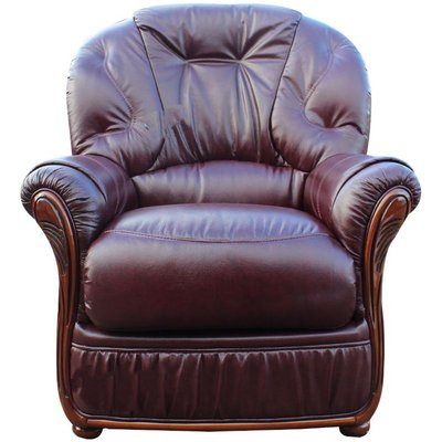 Designer Sofas 4 U - Mars Range Genuine Italian Sofa Armchair BurgUndy Leather