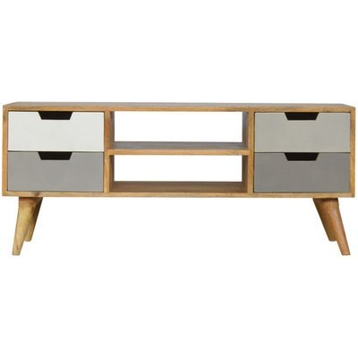Artisan - Media Unit with 4 Grey Hand-painted Drawers and 2 Open Slots