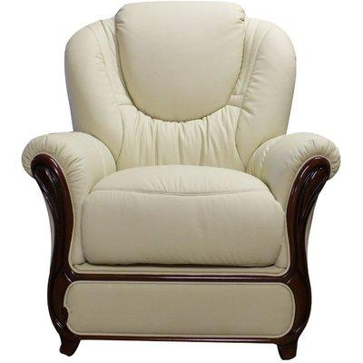 Designer Sofas 4 U - Mississippi Genuine Italian Sofa Armchair Cream Leather