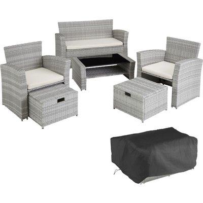 Rattan garden furniture set Modena - garden sofa, garden sofa set, rattan sofa - light grey