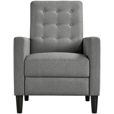 Modern Gray Fabric Recliner Chair Adjustable Sofa Lounge Comfy Armchair with Soft Padded Seat for Living Room/Bedroom/Theater Home Furniture