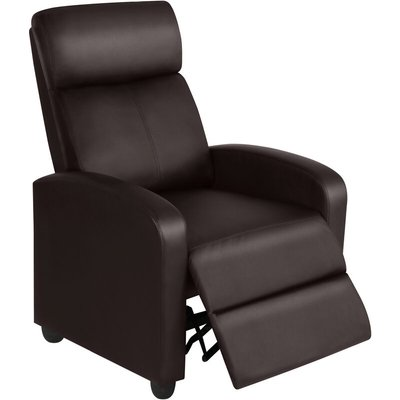 Recliner Arm chair Single Padded Seat PU Leather Sofa Lounge Home Living Room Theater Seating - Brown