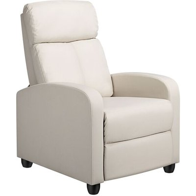 Recliner Arm chair Single Padded Seat PU Leather Sofa Lounge Home Living Room Theater Seating - Beige