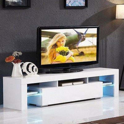 Talkeach - Modern TV Cabinet Stand Storage Drawer Shelf Table LED Living Room - White