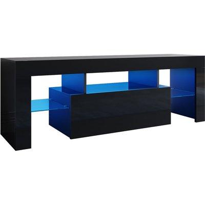 Modern TV Unit 130cm Cabinet High Gloss with Free RGB LED Lights Drawer Black