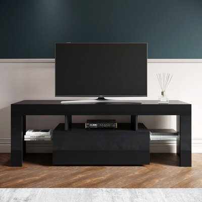Modern TV Unit Stand High Gloss Black with RGB LED Lights 130cm Cabinet