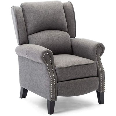 More4Homes CHARLOTTE MODERN FABRIC PUSHBACK RECLINER ARMCHAIR SOFA ACCENT CHAIR RECLINING (Grey)