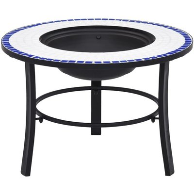 Youthup - Mosaic Fire Pit Blue and White 68cm Ceramic