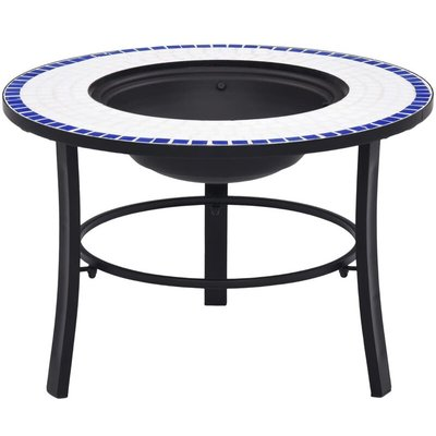 Mosaic Fire Pit Blue and White 68cm Ceramic - Blue