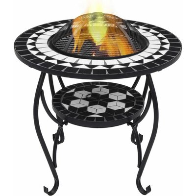 Mosaic Fire Pit Table Black and White 68 cm Ceramic - YOUTHUP