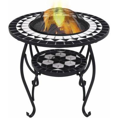Zqyrlar - Mosaic Fire Pit Table Black and White 68 cm Ceramic - Black