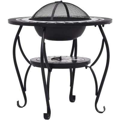 Mosaic Fire Pit Table Black and White 68 cm Ceramic - ASUPERMALL