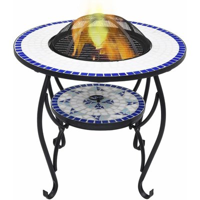 Mosaic Fire Pit Table Blue and White 68 cm Ceramic - YOUTHUP