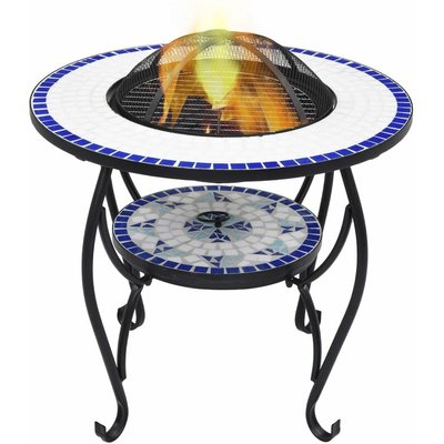 Mosaic Fire Pit Table Blue and White 68 cm Ceramic - Blue