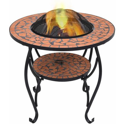 Mosaic Fire Pit Table Terracotta 68 cm Ceramic
