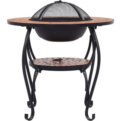 Mosaic Fire Pit Table Terracotta 68 cm Ceramic - ASUPERMALL