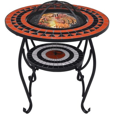 Mosaic Fire Pit Table Terracotta and White 68 cm Ceramic - ASUPERMALL