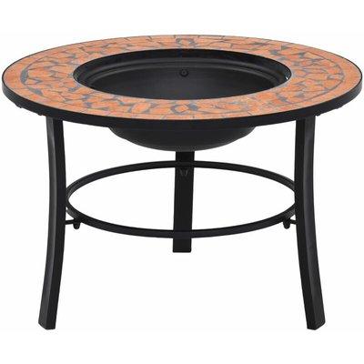 Mosaic Fire Pit Terracotta 68cm Ceramic - Brown