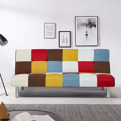 Livingandhome - Multicolor Fabric 2 Seater Sofa Bed