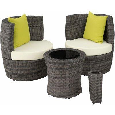Rattan garden furniture set Nizza - garden tables and chairs, garden furniture set, outdoor table and chairs - grey
