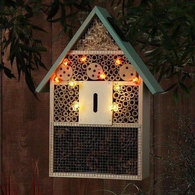 Noma Solar Light Wooden Insect Bug Butterfly House Hotel Home Wall Mount Hanging