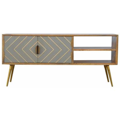 Artisan - Open Nordic Style Media Unit with 2 Cement Brass Inlay Doors