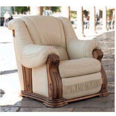 Oropesa Italian Leather Armchair Hielo - DESIGNER SOFAS 4 U