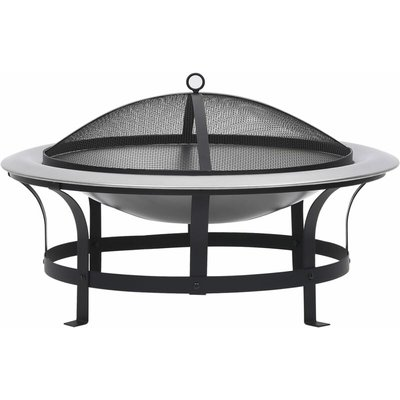 vidaXL Outdoor Fire Pit with Grill Stainless Steel 76 cm - Black