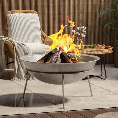 Outdoor Garden Firepit Round Fire Pit BBQ Grill Heater, 80CM