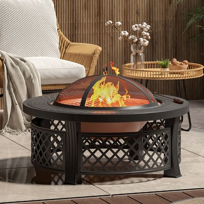 81CM Garden Fire Pit Brazier Heater BBQ Firepit Table with BBQ Grill - LIVINGANDHOME
