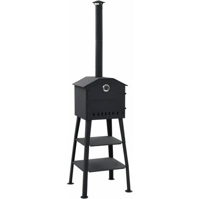 Zqyrlar - Outdoor Pizza Oven Charcoal Fired with 2 Fireclay Stones - Black