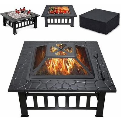 HEATSURE Outdoor Steel Fire Pit Brazier Square Black 32'