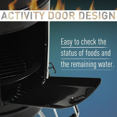 "Outsunny 16"" Charcoal Smoker Grill Metal Outdoor Camping w/ Thermometer Black"